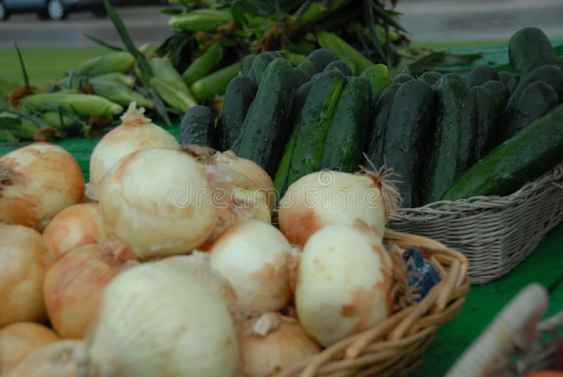 Yellow Onions & Cucumbers royalty free stock photography