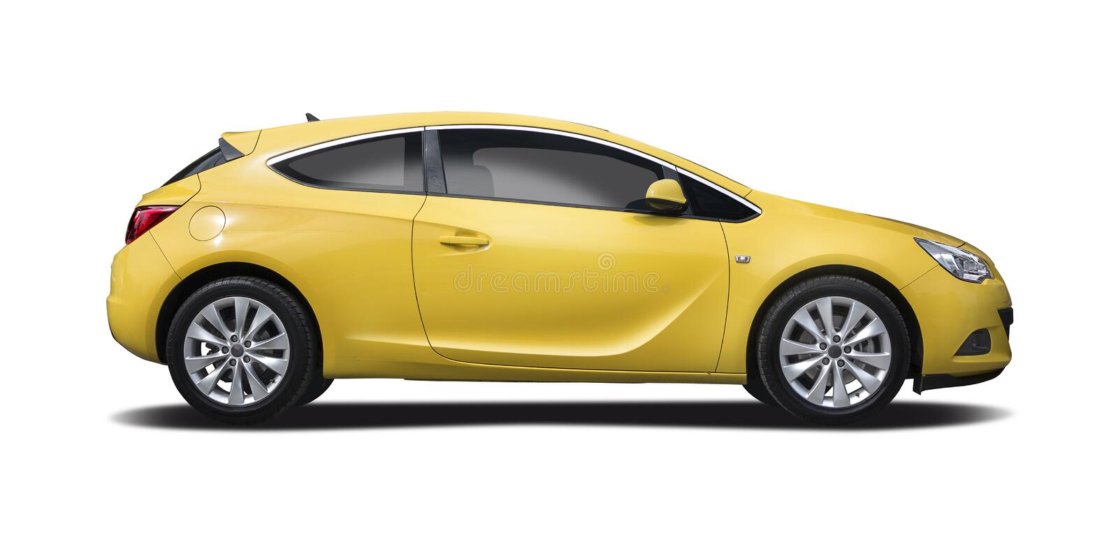 Yellow Opel Astra coupe isolated. Yellow coupe sport car side view isolated on white stock photography