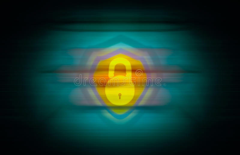 Yellow open lock and a shield merged on seamless abstract background stock illustration