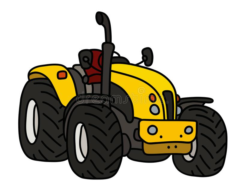 The yellow open tractor. The hand drawing of a yellow open heavy tractor stock illustration