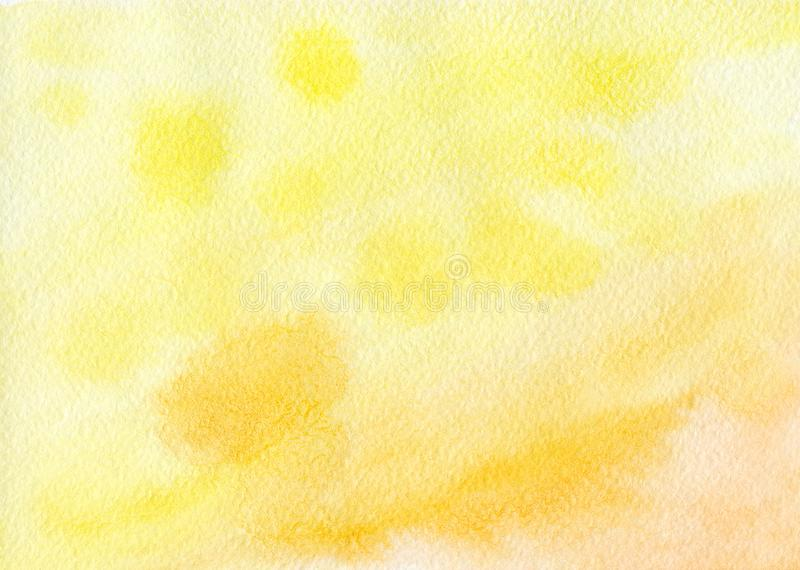 Yellow-orange background painted with watercolor stock photography