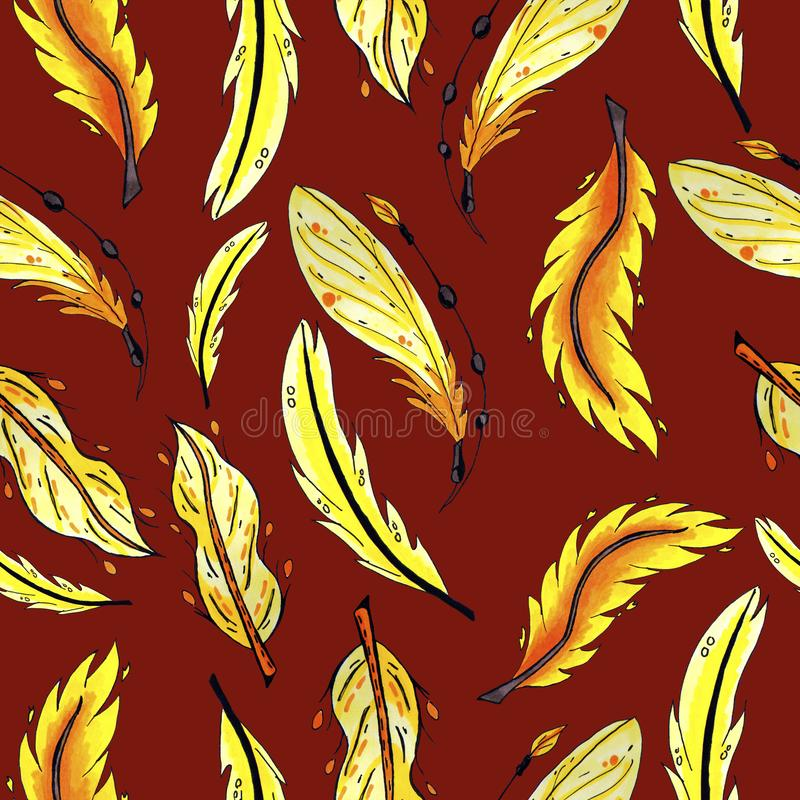 Yellow and orange feathers seamless pattern. colorful bird feathers repeating background for web and print purpose. stock photo