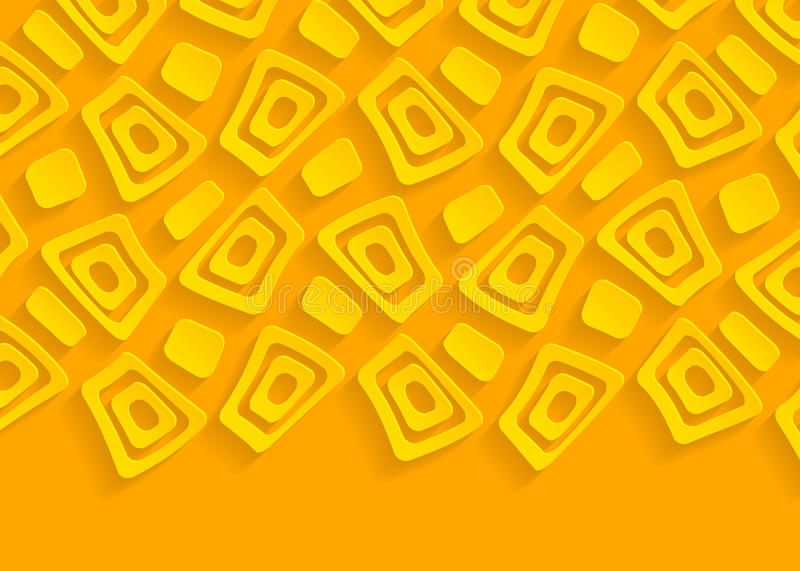 Yellow and orange geometric paper abstract background. For website, banner, business card, invitation, postcard royalty free illustration