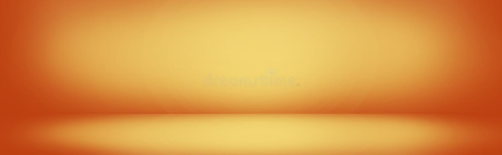 yellow and orange gradient wall banner, blank studio room background for present product royalty free illustration