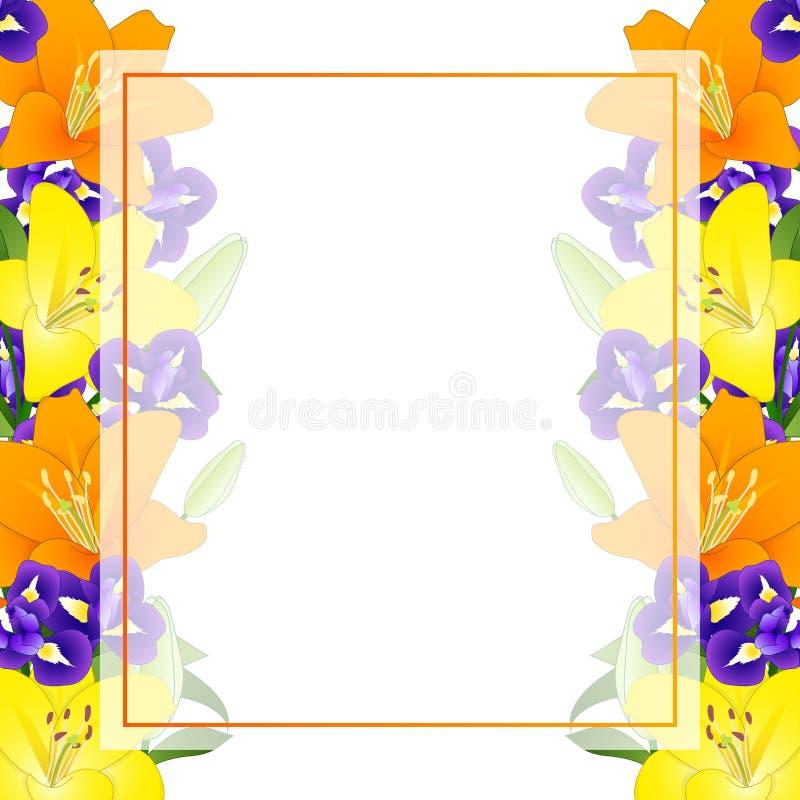Yellow, Orange Lily and Blue Iris Flower Banner Card Border on White Background. Vector Illustration stock illustration