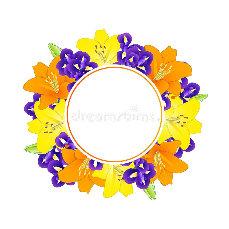 Yellow, Orange Lily and Blue Iris Flower Banner Wreath on White Background. Vector Illustration vector illustration
