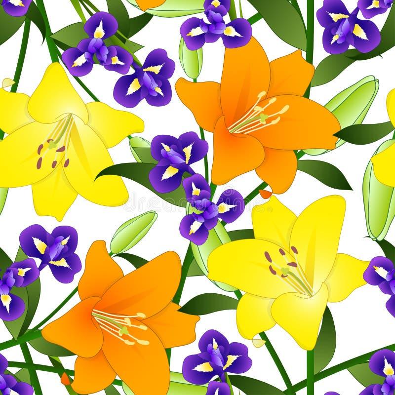 Yellow, Orange Lily and Blue Iris Flower on White Background. Vector Illustration stock illustration