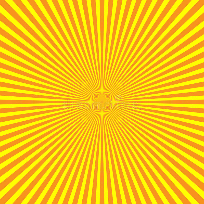 Yellow-orange rays of light in radial arrangement. Sunshine beams theme. Abstract background pattern. Vector royalty free illustration