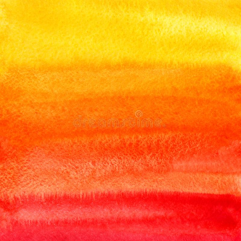 Yellow, orange, red gradient watercolor background royalty free stock photos