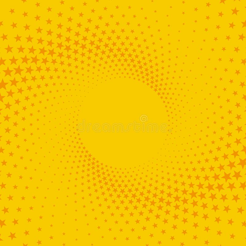 Yellow and orange retro comic background with stars. Vector illustration in the style of pop art royalty free illustration