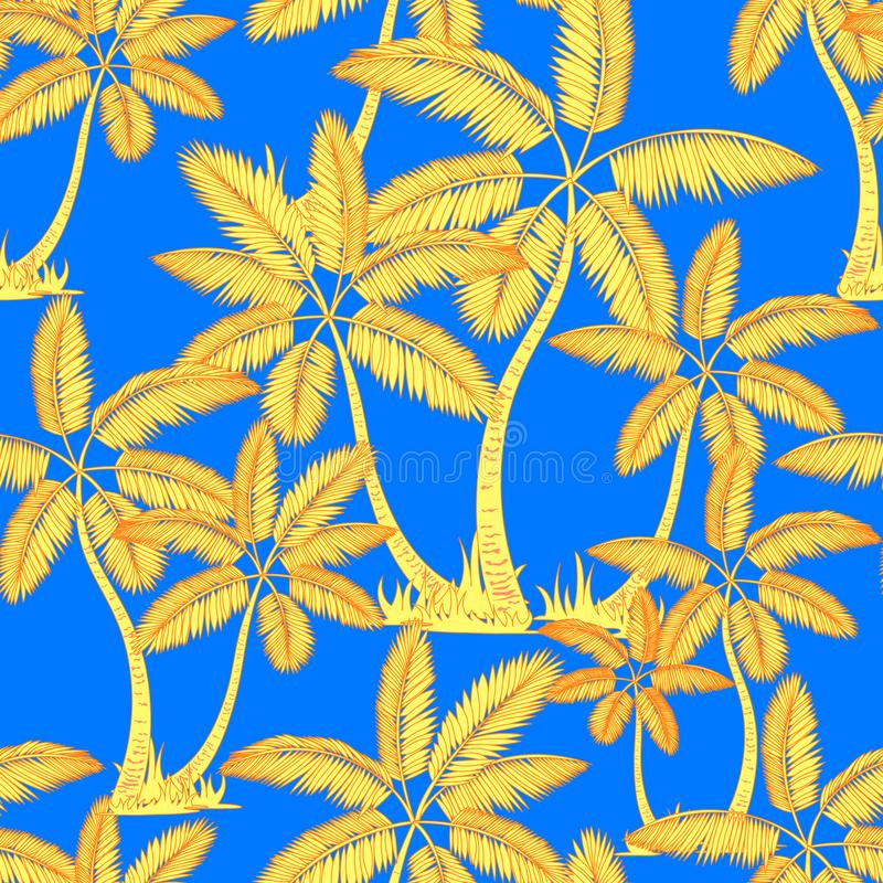 Yellow orange Seamless tropical palms pattern. Summer endless hand drawn vector blue background of palm trees can be used for vector illustration