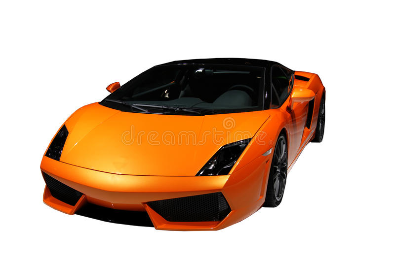 Yellow Orange Sport Car isolated stock photography
