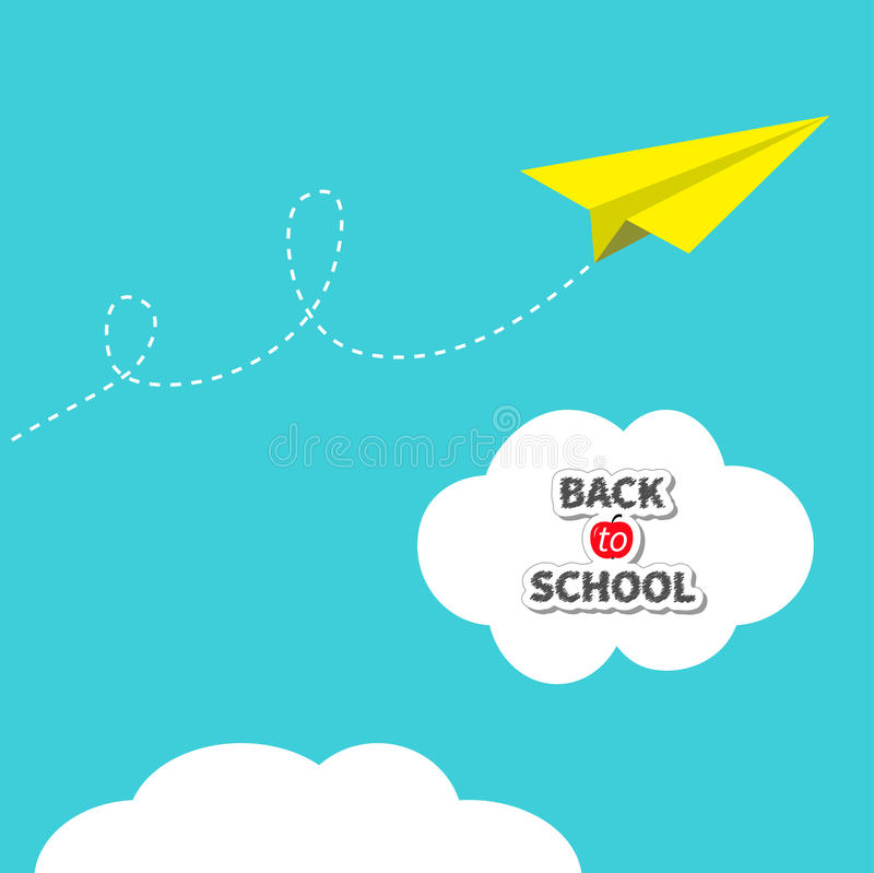 Yellow origami paper plane dash line track with loop in the sky. Back to school text in white cloud. Flat design. Blue royalty free illustration