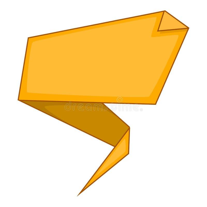 Yellow origami speech bubble icon, cartoon style stock illustration