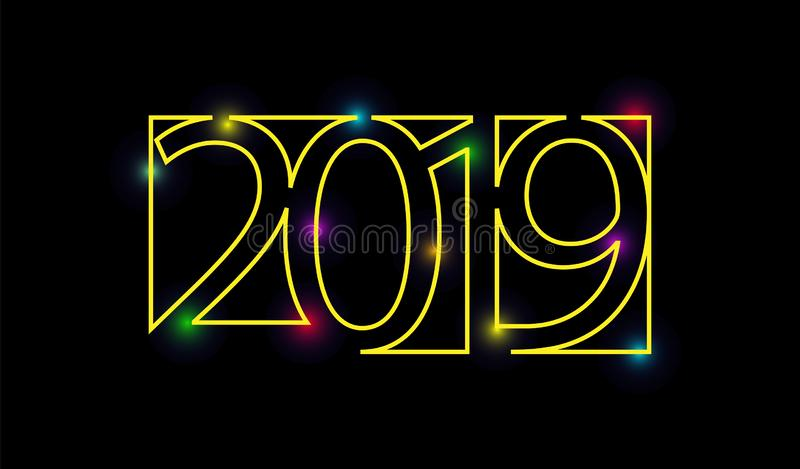 Yellow outline of 2019 figures on a black background royalty free illustration