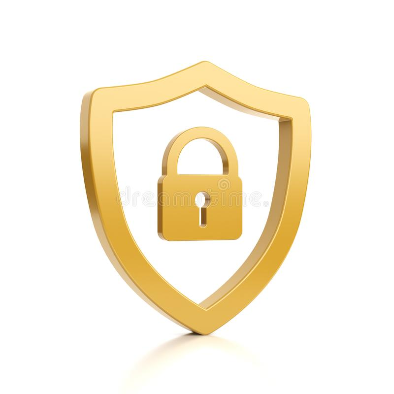 Yellow Outline Shield Shape with Padlock on White stock illustration