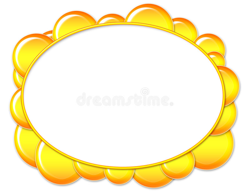 Yellow Oval Bubble Frame vector illustration