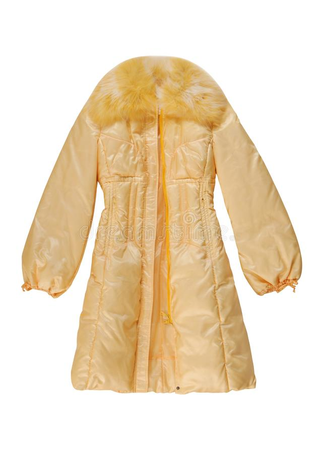 Yellow padded coat with zip fastener stock photography