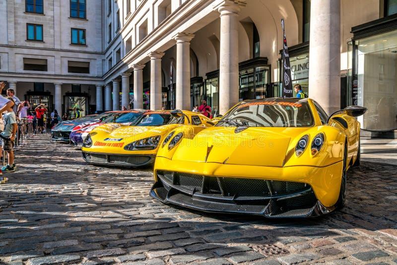 Yellow Pagani Zonda Supercar in London stock images