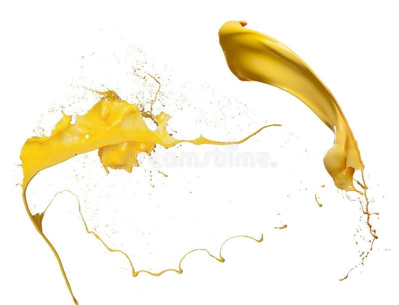 Yellow paint splash collection stock images
