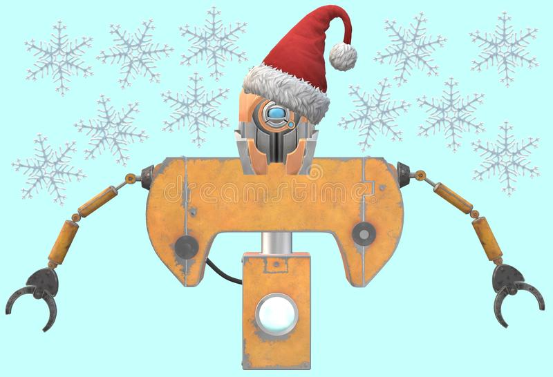 A yellow painted upper torso of an industrial robot wearing a red santa hat vector illustration