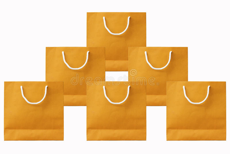 Download Isolated White Background.Yellow Paper Bag Set Stock Image - Image: 26068663