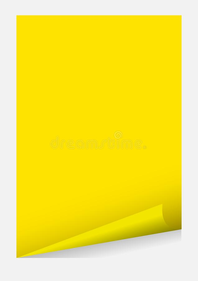 Yellow a4 paper blank curl corner template isolated on grey background, sticker sheet of paper curl yellow a4 paper template frame. The yellow a4 paper blank stock illustration