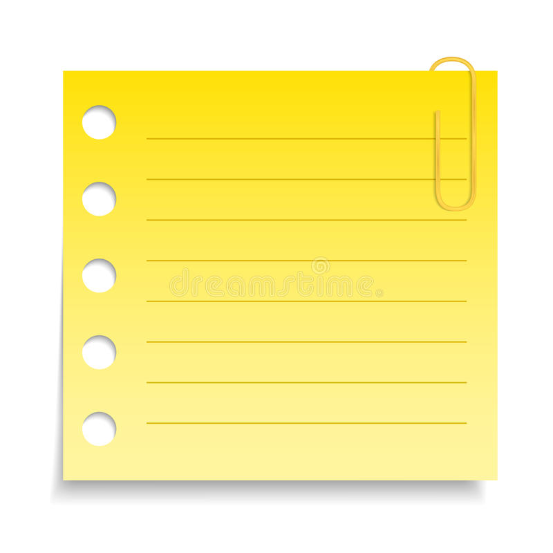 Yellow Paper Note stock illustration