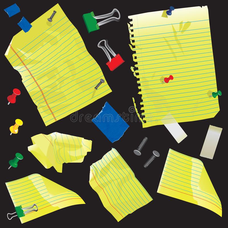 Yellow paper, note cards and supplies. Isolated on black stock illustration