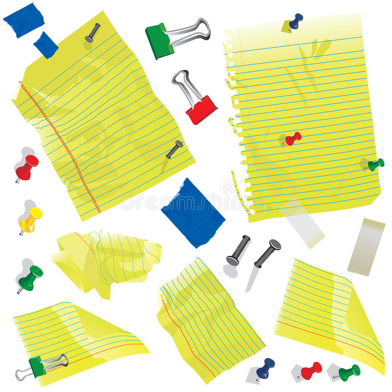 Yellow paper, note cards and supplies. Crumbled Yellow note cards and paper with push pins, clips and tape royalty free illustration
