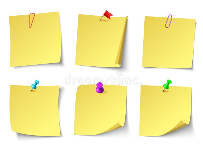 Yellow paper notes. Top view note sticker vector set vector illustration