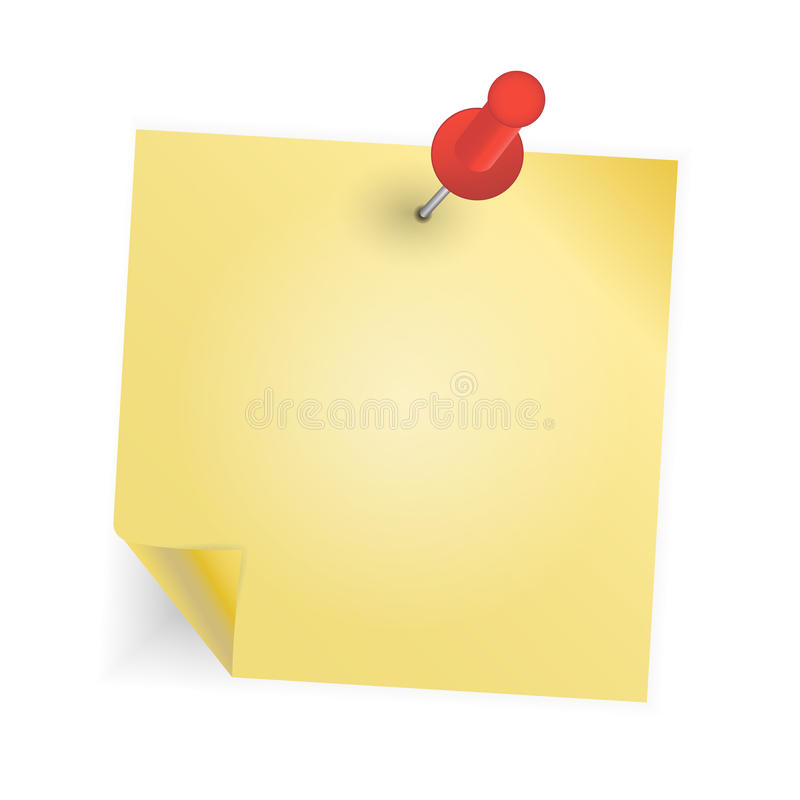Yellow paper with pin on white background vector royalty free illustration