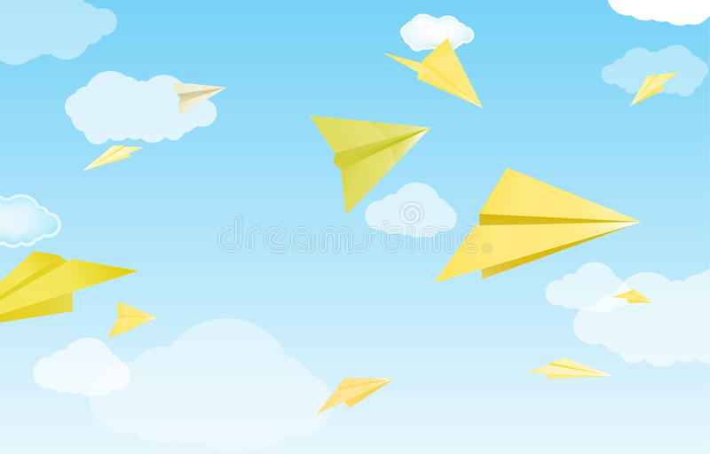 Download Yellow paper planes stock vector. Image of clean, blank - 20748984