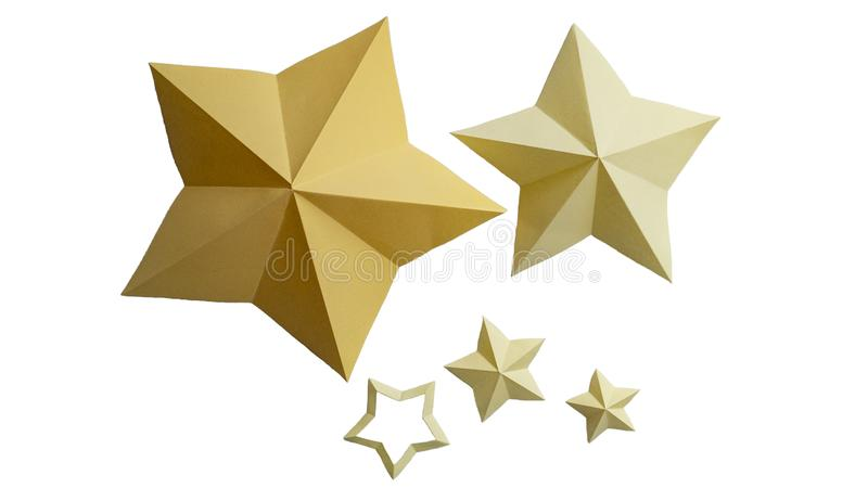 Yellow paper stars isolated on white background. Five paper stars. Yellow paper stars isolated on white background. Five origami stars stock images