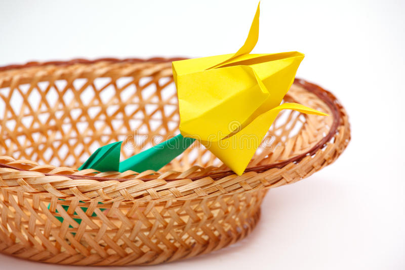 Paper tulips in a basket