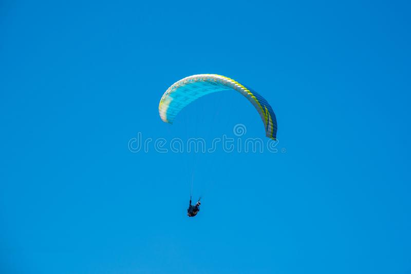 Yellow Paraglider stock photo