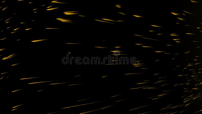 Yellow particles effect dust debris isolated on black background, motion powder spray burst. Design element. Yellow particles effect dust debris isolated on stock image