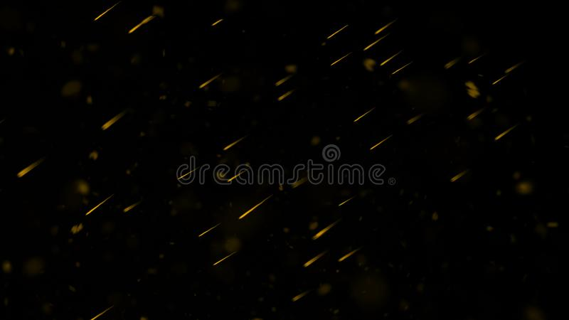 Yellow particles effect dust debris isolated on black background, motion powder spray burst. Design element. Yellow particles effect dust debris isolated on stock photography