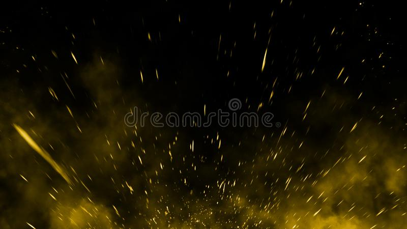 Yellow particles effect dust debris isolated onbackground, motion powder spray burst. Yellow particles effect dust debris isolated on black background, motion stock image