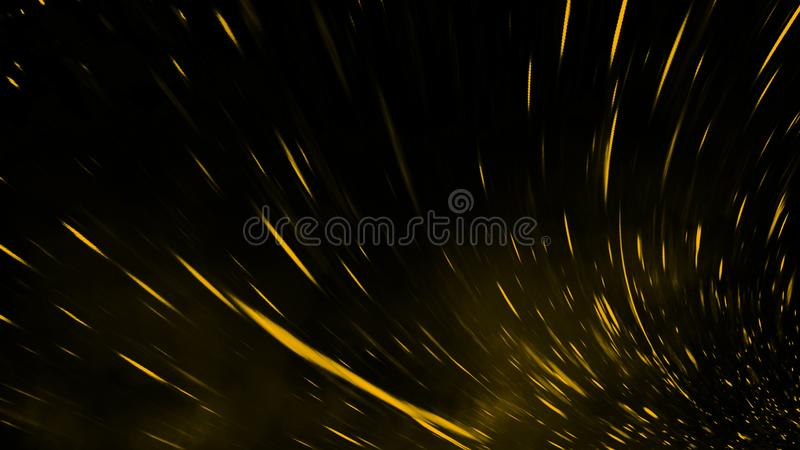 Yellow particles effect dust debris isolated onbackground, motion powder spray burst. Yellow particles effect dust debris isolated on black background, motion royalty free stock photos