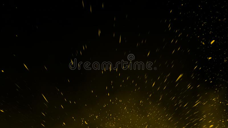 Yellow particles effect dust debris isolated onbackground, motion powder spray burst. Yellow particles effect dust debris isolated on black background, motion stock photography