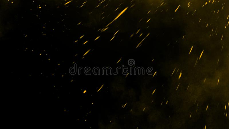Yellow particles effect dust debris isolated onbackground, motion powder spray burst. Yellow particles effect dust debris isolated on black background, motion stock images