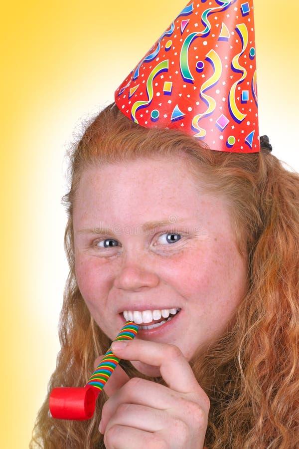 Yellow party portrait stock photos