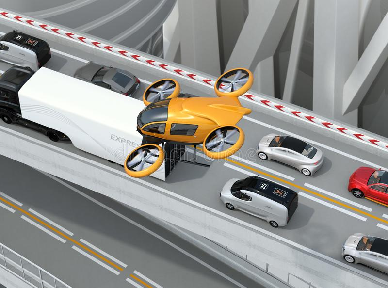Yellow passenger drone flying over cars in heavy traffic jam. Concept for drone taxi. 3D rendering image vector illustration