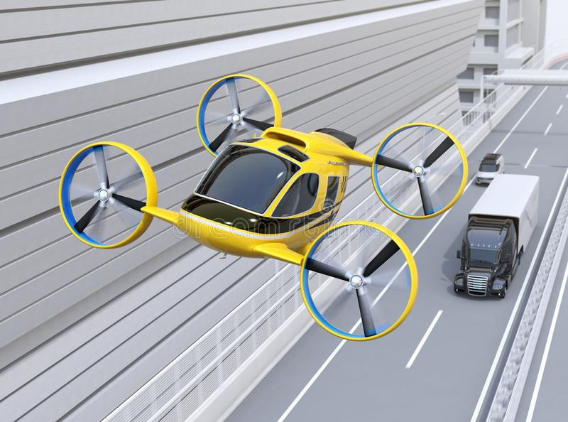 Yellow Passenger Drone Taxi flying over American truck driving on highway. 3D rendering image royalty free illustration