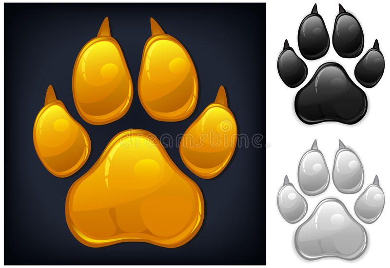 Download Yellow paw prints stock vector. Image of print, black - 24664821