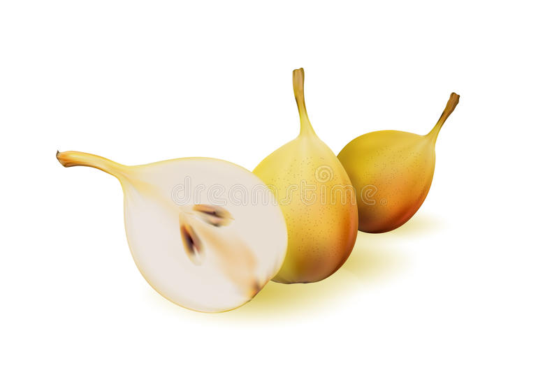 Yellow pear as source of vitamins and minerals to increase energy and combat fatigue and depression. Pear and a half. vector illustration