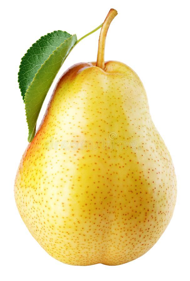 Free Yellow Pear Fruit With Green Leaf Isolated On White Royalty Free Stock Photos - 131832708