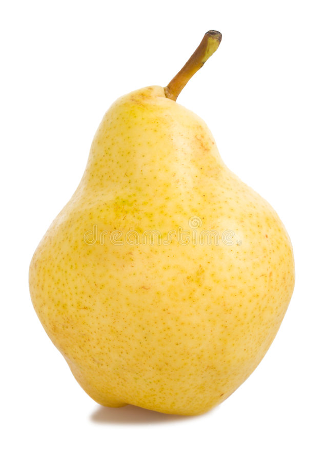 Yellow pear isolated. Close-up ripe yellow pear, isolated on white stock photo
