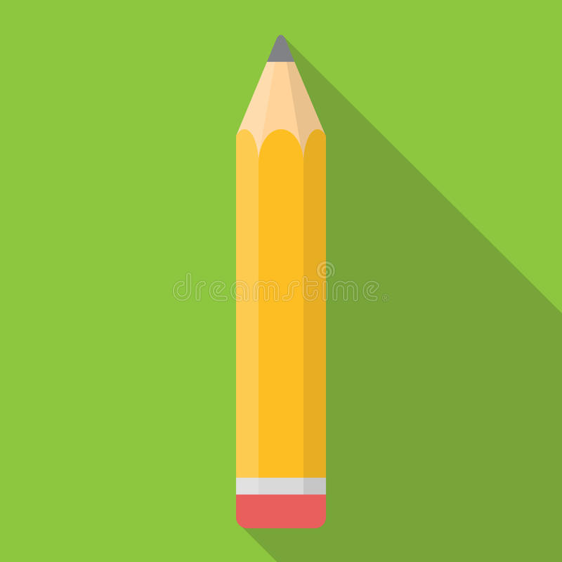 Yellow Pencil Flat Icon with Long Shadow Vector. Illustration EPS10 royalty free illustration